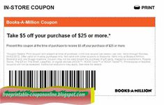 Free Printable Books A Million Coupons Store Coupons, Print Coupons, Printable Coupons, Printables, Free Printable, Books A Million, Discount Coupons, Coupon Codes, Coding