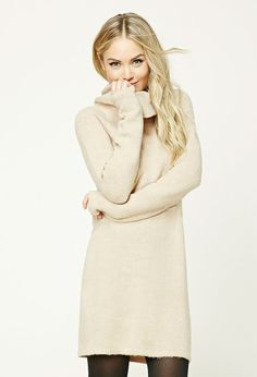 Forever 21 Contemporary - A wool-blend knit dress featuring a fold-over cowl neck, long raglan sleeves, and a shift silhouette.