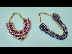 2 Necklace Making Ideas For Laddu Gopal Janmashtami Decoration, Laddu Gopal Dresses, Ladoo Gopal, Rakhi Design, Indian Arts And Crafts, Crochet Flower Tutorial, Paper Flowers Craft, Necklace Tutorial, Handmade Jewelry Designs