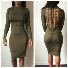 Olive green bodycon dress Fits like a glove Brand new Has stretch Very comfy bebe Dresses Mini Hot Dress, Dress Me Up, Dress Skirt, Dressy Outfits, Dope Outfits, Khaki Green Dress, Birthday Dresses, Birthday Outfits, Bodycon Dress Parties