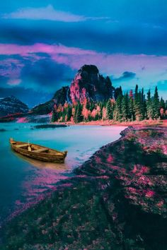 Colorful nature view with mountain and water boat stock photo