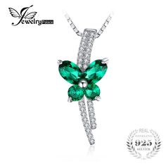 JewelryPalace Butterfly 1.3ct Created Emerald Pendant 925 Sterling Silver Jewelry for Women Not Include The Chain #Affiliate