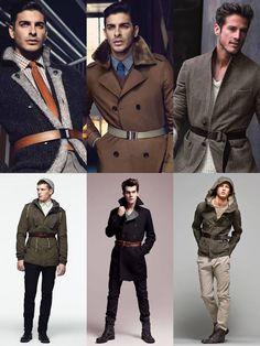 Sampler of Belted Coats & Jackets. Men's Fall Winter Fashion.