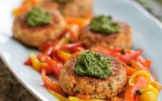 Pink Salmon Cakes with Cilantro Pesto Recipe. Pink Salmon will be coming through Puget Sound in August! Wild Salmon Recipe, Salmon Recipes, Fish Recipes, Seafood Recipes, Cooking Recipes, Gf Recipes, Healthy Pesto, Healthy Eating, Clean Eating