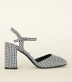 Shop Wide Fit Black Houndstooth Two Part Court Shoes. Discover the latest trends at New Look. New Look Uk, Court Shoes, Shoe Collection, Houndstooth, Heeled Mules, Latest Trends, Kitten Heels, Footwear, Fitness
