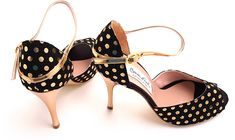 Comme il Faut - Negro y Dorado Lunares- Lisadore - Argentina Tango Shoes - Salsa Shoes - Dancing Shoes - Every Month New Models - Visit our website www.lisadore.com