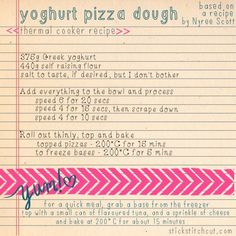 Stick Stitch Cut: Yoghurt pizza dough for the thermal cooker [BIKM] Lunch Box Recipes, Gf Recipes, Gourmet Recipes, Healthy Recipes, Belini Recipe, Thermal Cooking, Greek Yoghurt, Dough Recipe, Pizza Dough
