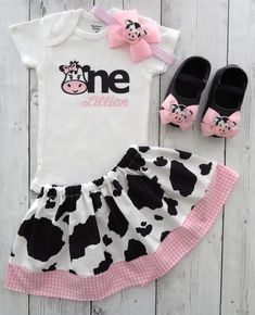 First Birthday Outfit in Cow print and Pink Gingham - barnyard birthday outfit, farm animal birthday girl, personalized, barnyard outfit Cow Birthday Parties, First Birthday Outfits, Girl First Birthday, Farm Animal Birthday, Farm Birthday, Cow Outfits, One Year Old Baby, Pink Gingham, Cow Print