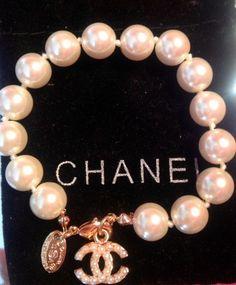 Chanel White Pearls Gold Bracelet