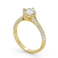 Engagement rings in vintage styles always look stunning. Pair yellow gold with sparkling diamonds for a timeless diamond engagement ring. Elegant Engagement Rings, Round Diamond Engagement Rings, Wedding Rings, Beautiful Diamond Rings, Diamond Jewellery, Eternity Ring, Round Diamonds, Wedding Planning, Wedding Decorations