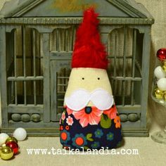 Whimsical christmas gnome made on recycled vintage fabric by Taikalandia