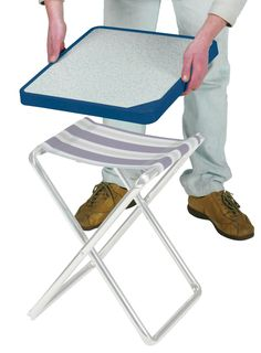 Crespo Mod. M-201: Accesorio para convertir nuestro taburete en una pequeña mesa de camping  This complement changes our chair into a little camping table. Camping Table, Camper, Tables, Design, Curly, Steel, Fold Out Table, Vans, Starcraft Campers