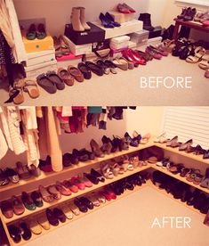 50 Pairs of Shoes- I'd cut the shelves in shorter sections & put hinges on them so that you could fold them up flat against the wall when not in use. That would make it more appealing for resale.