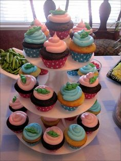 Cupcakes, Contemporary Baby Shower Cupcake Design With Luxury Decorations And Colorful 00807: Cute Baby Shower Cakes Design & Decoration