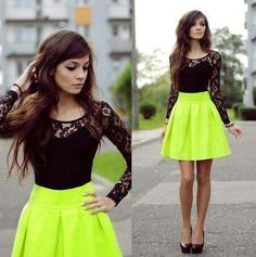 neon skirt... SENIOR PICTURE outfit idea for sure!