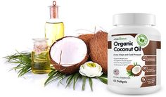 Combo of Organic Coconut Oil bottle and fruit