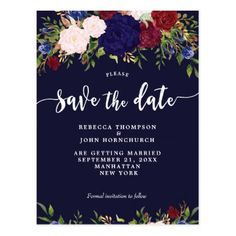 boho navy floral wedding save the date postcard - postcard post card postcards unique diy cyo customize personalize