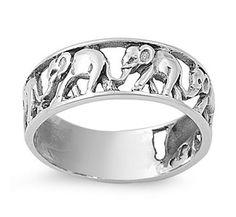 Sterling Silver Elephants Ring