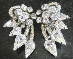 Unsigned Juliana all rhinestone rhodium plated clip earrings