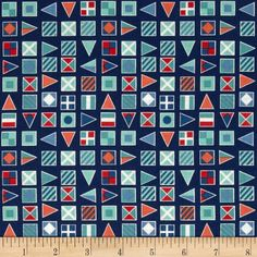 Nautical Flags Blue from @fabricdotcom  Designed by The Henley Studio for Andover Fabrics, this cotton print includes colors of blue, red, aqua, grey and white. Use for quilting, apparel, crafts and home decor accents.