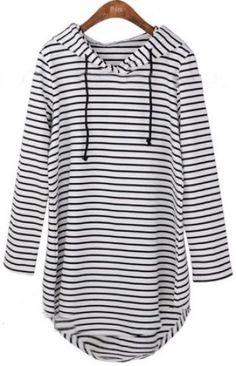 Black White Striped Hooded Long Sleeve Dress