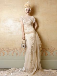 Forget that chick's head all together. I love the flowy, art deco-ness of this dress. Thoughts?  YolanCris   Mademoiselle Vintage @Jocelyne Burke