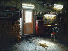 "Nicolas Martin ""Garage"" Oil on Linen 9 by 12 Inches"
