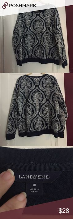 """Land's End Sweatshirt Classic navy blue with a raised textured cream colored design. Bust 23"""", length 26"""".  I probably wore this about 3 times, it is in perfect condition. A great seasonal sweatshirt Lands' End Tops Sweatshirts & Hoodies"""