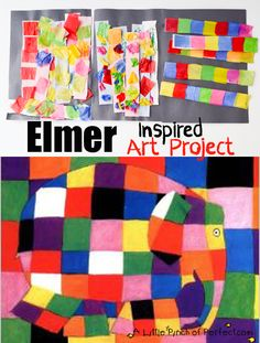 Elmer the Elephant Inspired Art -fun and colorful tissue paper art for kids