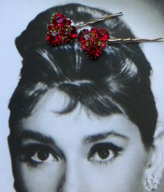 NEW!!!! Brilliant RED! Fireworks for your hair on the 4th of July!!! Decorative 50's Red Ruby Weiss Rhinestone Hair Pins by WillowBloom, $48.50