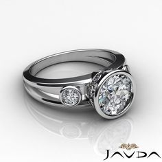 Round Cut Bezel Set Diamond Three Stone Engagement Ring GIA F SI1 Platinum 1 5ct | eBay