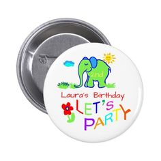Elephant Colorful Cute Name & Age Birthday Pinback Button