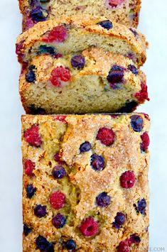 Mixed Berry Banana Bread   recipe via justataste.com #recipe #bananabread