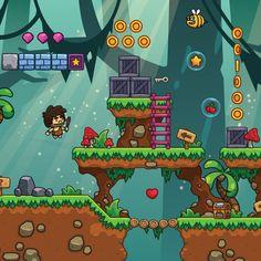 Cartoon Jungle Game Tileset