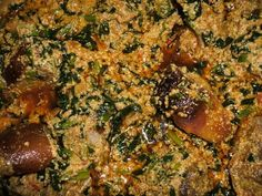 Egusi Stew. Best with ground cassava/garri or rice Nigeria Food, Ghana Food, African Stew, West African Food, Zambian Food, Exotic Food, International Recipes, Soups And Stews, Good Food