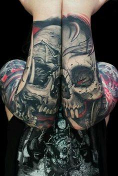 We love this ghoulish tattoo. #InkedMagazine #skull #tattoo #tattoos #inked #ink #art #horror