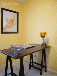 Stenciled yellow home office/craft room using Cutting Edge Stencils. From @How to Nest for Less