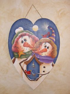 Snowmen Under The Moon, Hand Painted Primitive Wood Sign, Home Decor, Winter. $30.00, via Etsy.