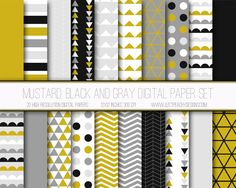 Just Peachy Designs: Free Mustard, Black and Gray Digital Paper