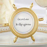 Gold Ship Wheel Place Card Frame