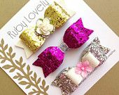 DEAL of the WEEK, Baby/Girls Glitter Bows Set, Birthday Bows, Wedding Hair Clips, Flower Hair Clip, Gold Bow, Pink Glitter Bow, Sparkly Bows