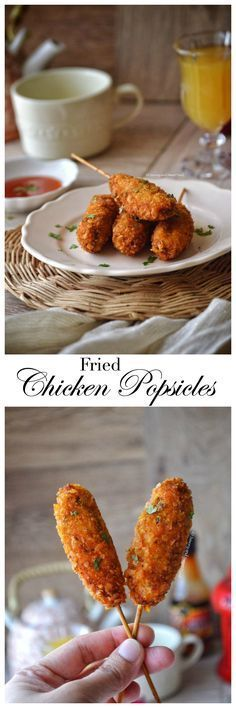 This most amazing appetiser, Fried Chicken Popsicles are made by combining chicken mince with lots of different spices and veggies, and then coating it with corn flakes crumbs and deep frying it to a golden perfection. Chicken Snacks, Fried Chicken, Chicken Appetizers, Iftar, Chicken Lollipops, Tapas, Ramadan Recipes, Eid Recipes, Tofu Recipes