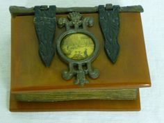 RARE Antique/Vintage  Butterscotch BAKELITE JEWELRY/TRINKET BOOK BOX