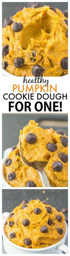 Healthy Pumpkin Cookie Dough for ONE- You'd never believe this creamy, texture perfect treat is packed full of fiber, protein and VERY low in sugar- It takes less than five minutes to whip up! vegan, gluten-free, paleo option - thebigmansworld.com – More at http://www.GlobeTransformer.org