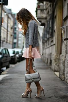 little pink skirt + grey Chanel bag
