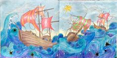"""Magical Christmas by Lizzie Cullen. """"I Saw Three Ships"""" Coloured by Prue from Colouring+ With Prue Adult Coloring, Coloring Books, Colouring, Christmas Colors, Christmas Ideas, Magical Christmas, Ships, Mary, Artwork"""