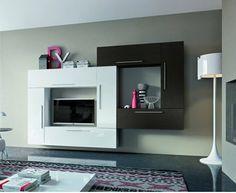 Mobile soggiorno sospeso €. 1.112,00 proposto nella versione bicolore con finitura in essenza wengè dark e bianco frassinato.