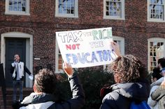 Brown protest: Tax the rich, not the educators. In solidarity with graduate students across the country organizing similar demonstrations, close to 100 graduate students gathered outside University Hall. University Hall, College Costs, Higher Education, Graduation, Students, School, Organizing, December, Country