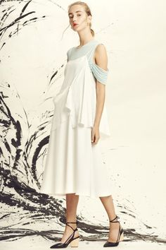 Spring & Summer 2017 | ADEAM #layering #ruffles  pale blue with interesting silk, looks wearable