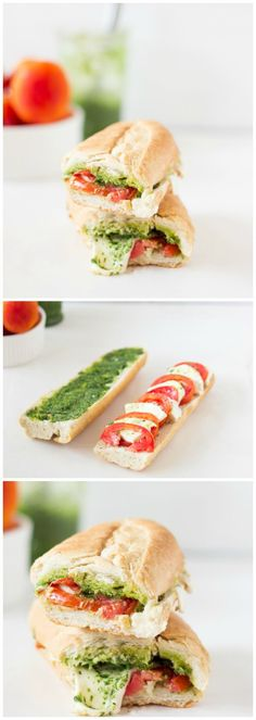 This Caprese Sandwich takes a twist by being toasted with melted mozzarella, and creamy parsley pesto. The sandwich is perfect for an everyday lunch or a picnic! #vegetarian #lunch